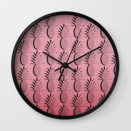 Pineapple Lines - pink Wall Clock