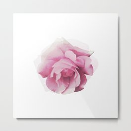 Pink Rose Watercolor Metal Print