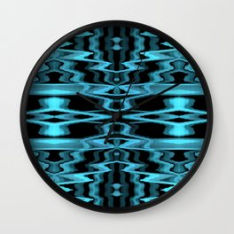 Blue Glitch Pattern Wall Clock