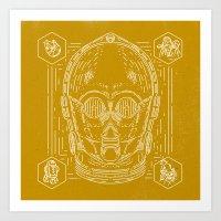 c3po Art Prints featuring C3PO by Jon Deviny