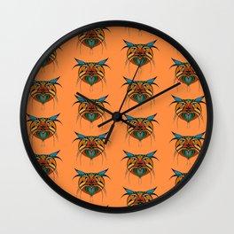Tribal Cat Faces Wall Clock