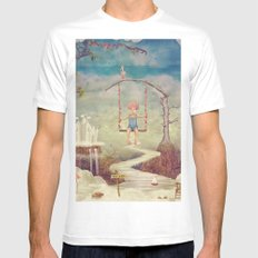 Mysterious city in sky Mens Fitted Tee White MEDIUM