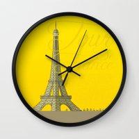 tour de france Wall Clocks featuring Tour De France Eiffel Tower by Wyatt Design