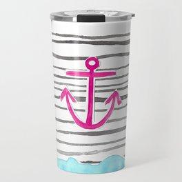 PINK Anchor Symbol - Stripes/blue  Travel Mug