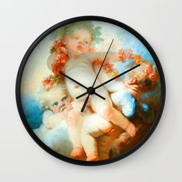 "Jean-Honoré Fragonard ""Three Putti crowned with flowers"" Wall Clock"