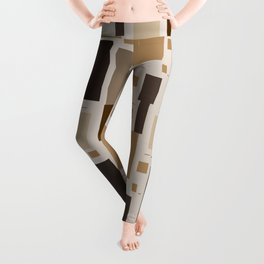 Retro Squares in Browns and Golds Leggings