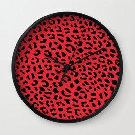 Leopard skin red Wall Clock