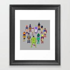Superhero Power Couple Butts - Grey Framed Art Print