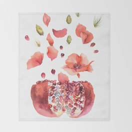 My heart is full of flowers / pomegranate and poppies Throw Blanket
