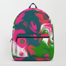 Green pink wavy strokes Backpack