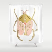 beetle Shower Curtains featuring Beetle by Very Sarie