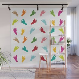 Colorful baby foot prints greeting card Wall Mural