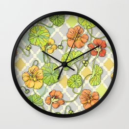 Climbing Nasturtiums in Lemon, Lime and Tangerine Wall Clock