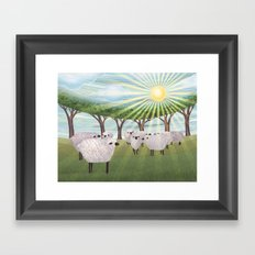 sunshine sheep Framed Art Print