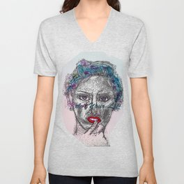 A Colorful Face of An Woman Unisex V-Neck