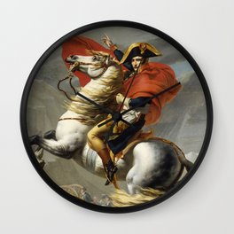 Napoleon Crossing the Alps by Jacques Louis David Wall Clock