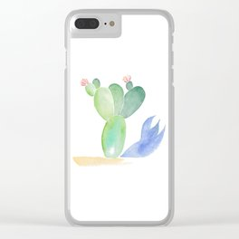 Cactus Shadow Clear iPhone Case