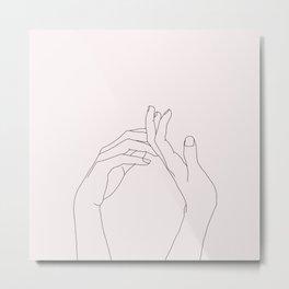 Hands line drawing illustration - Abi Natural Metal Print