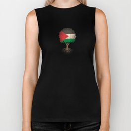 Vintage Tree of Life with Flag of Palestine Biker Tank