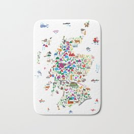 Animal Map of Scotland for children and kids Bath Mat