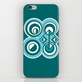 Striped Blue White and Teal Falling Eccentric Circles Abstract Art iPhone Skin