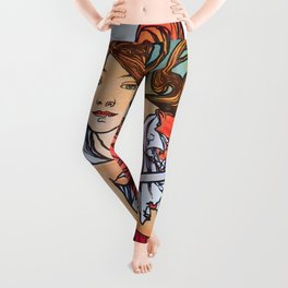 Alfons Maria Mucha - Cycles Perfecta - Digital Remastered Edition Leggings