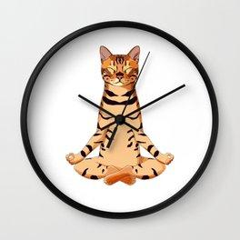 Yoga Bengal Cat  Wall Clock