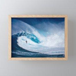 Wave and Surfer Framed Mini Art Print
