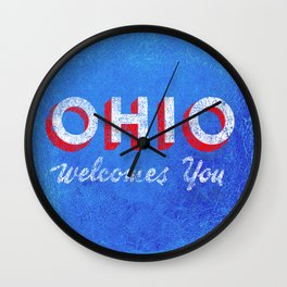 Vintage Ohio Welcome Sign Wall Clock