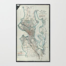 Vintage Map of Seattle Washington (1911) Canvas Print