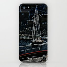 Sailboat in neon iPhone Case