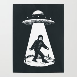 Bigfoot abducted by UFO Poster