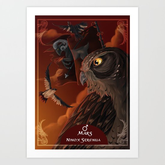 solar owls mars  Art Print