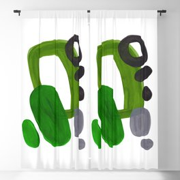 'Mid Century Magic' Mid Century Modern Abstract Shapes Pattern Groovy Green Funky 70's Trendy Blackout Curtain