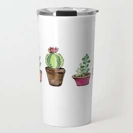 Cactus Pots Watercolor Plant -Hipster Travel Mug