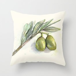Olive Branch | Green Olives | Watercolor Illustration Throw Pillow