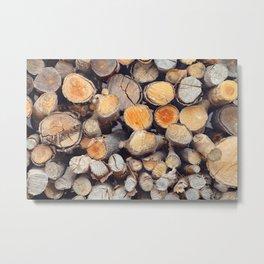 Stacked logs slice view Metal Print
