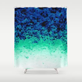 Midnight Teal Ombre Crystals Shower Curtain