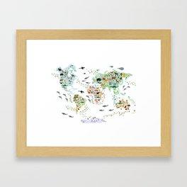 Cartoon animal world map for children, kids, Animals from all over the world, back to school, white Framed Art Print
