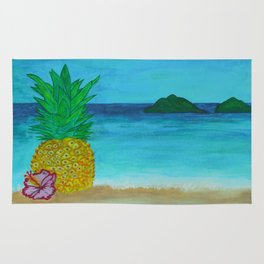 Pineapple On The Beach - Vibrant Rug