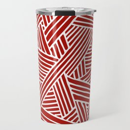 Abstract Navy Red & White Lines and Triangles Pattern Travel Mug