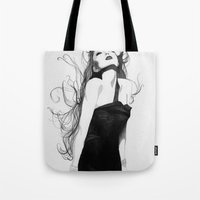 lindsay lohan Tote Bags featuring Lindsay by J. Nicole