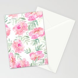 Watercolor Peonie with greenery Stationery Cards