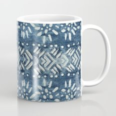 Vintage indigo inspired  flowers and lines Mug