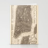 new york map Stationery Cards featuring New York Map by Le petit Archiviste