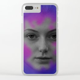Pink and blue portrait Clear iPhone Case