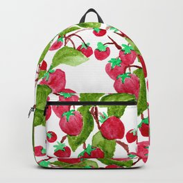 Watercolor hand painted red green strawberries Backpack