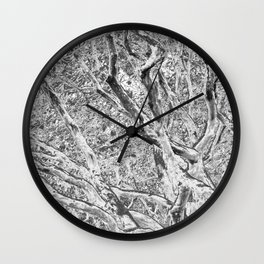 RHODODENDRON - TWISTING TRUNKS - IN BLACK AND WHITE Wall Clock