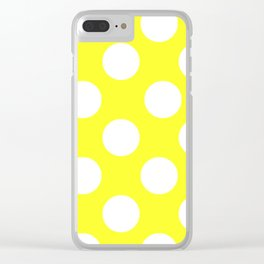 Yellow With Large White Polka Dots Clear iPhone Case