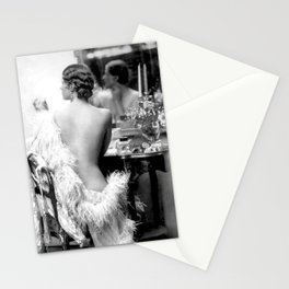 Ziegfeld Girl at her Dressing Table back stage, Paris black and white photograph Stationery Cards